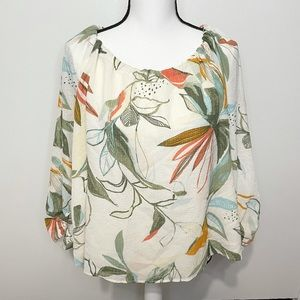 A New Day Floral Cinch Neckline Mid Sleeve Blouse